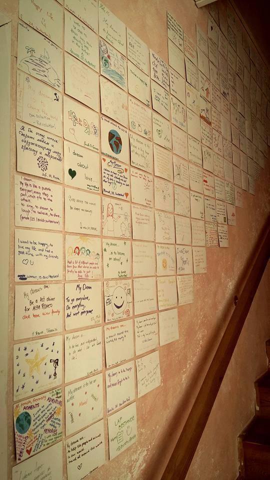 Unelmakortteja kommuunimme seinällä